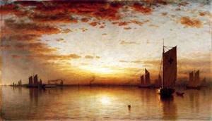 GFM Painting - Riproduzione fatta a mano di Pittura ad Olio. Soggetto:A Sunset,Bay of New York 1878,Pittura ad Olio di Sanford Robinson Gifford - 72 By 96 pollici