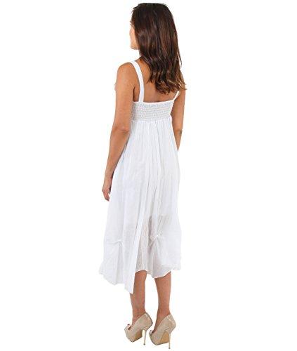 KRISP® Femmes Robe Unie Longue Dentelle Vacances Plage Blanc