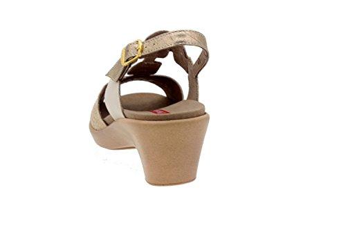 Piesanto confort Femme Chaussures-modèle 4853 Sandales en cuir amovible chaussure confortable large Cava/Beig