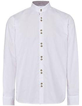Gweih & Silk Moser Trachten Trachtenhemd Langarm Weiß Tegernsee 112271 von Material Baumwolle, LIegekragen