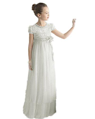Izanoy Mädchen Spitze Strand Blumenmädchen Kleider Prinzessin Party Kommunion Kleid mit Ärmel Elfenbein Size Child 12-13