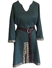 LiangZhu Tunica Medievale per Uomo Camicia Elegante Stile Cavaliere Costume  Cosplay di Halloween Senza Cintura e3fa5269ff21