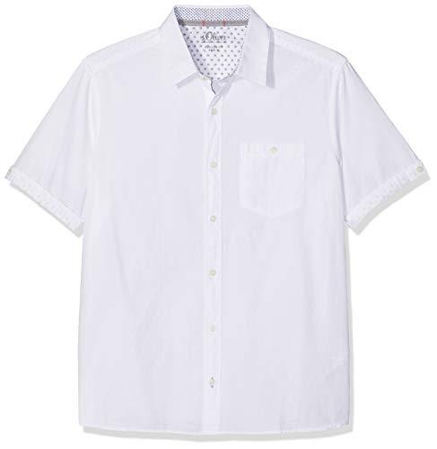 s.Oliver Herren 03.899.22.4578 Freizeithemd, Weiß (White 0100), Medium (Herstellergröße: M) -