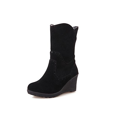 Wsx & Plm Femmes-bottines-décontractées Formal-comfortable-wedge-fleece-noir Marron Vert Rouge Beige Rouge