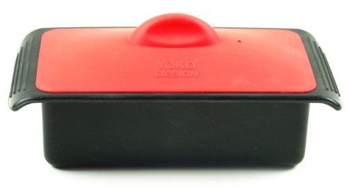 YOKO DESIGN 1100 Terrine + Couvercle Silicone/Platine Noir/Rouge 19,5 x 10,2 x 8,5 cm