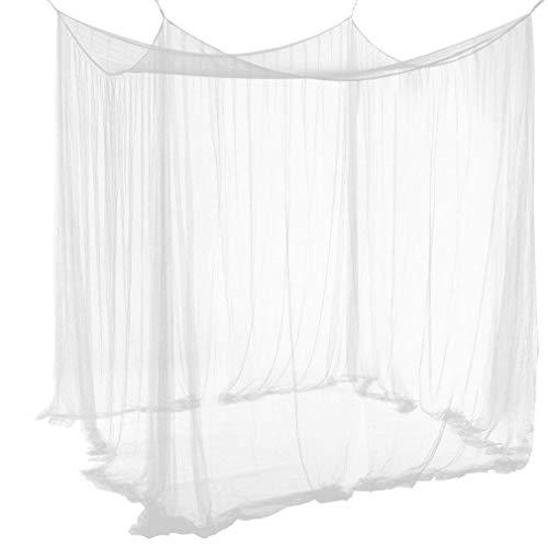 Qucover Baldachin aus Polyester, Schöner Betthimmel, Größe Mückennetz, Moskitonetz für Doppelbett, Weiß, 210 x 190 x 240 cm -