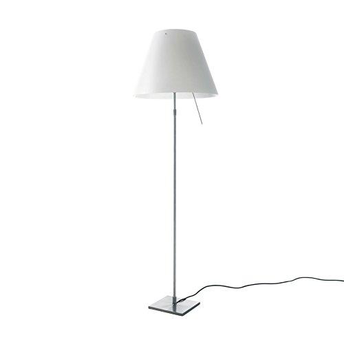 Luceplan Costanza Terra - Lampada da terra telescopica, attenuabile moderno Bianco/satinato/telaio alluminio