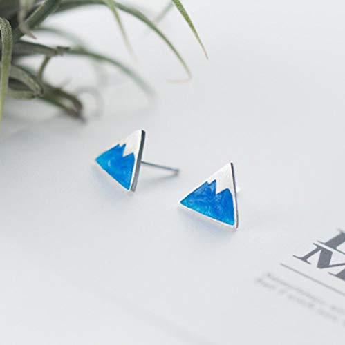 YYAMOMO Ohrstecker S925 Sterling Silber Damen Mount Fuji Farbverlauf Blau Hand Tropf Glasur Eisberg Dreieck Klassische Mode Persönlichkeit Einfache Hypoallergen Süßes Mädchen Charmant -