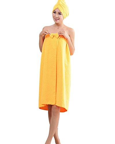 ZiXing Douce Bowknot Serviette de Bain Spa En Microfibre Super Soft Absortant Protable pour Femme Serie de Robe Tube Avec Bonnet de Douche orange OneSiz