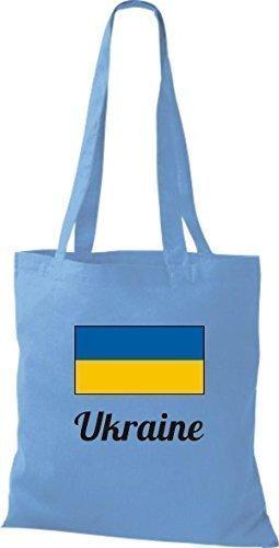 ShirtInStyle Stoffbeutel Baumwolltasche Länderjute Ukraine Ukraine Farbe Hellbraun hellblau