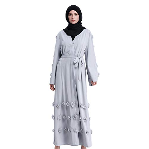 Hanomes Damen Muslimische Casual Islamische Kleidung Frauen Kaftan Einfarbig Roben Party Kleider Strickjacke Kleid Muslim Araber ()