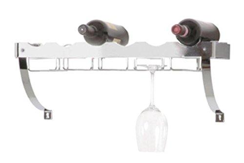 Haku Weinregal chrom aus verchromten Metall für 6 Flaschen und 10 Gläser 44263