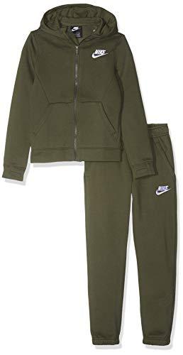 Nike Jungen B NSW BF CORE Tracksuit, Cargo Khaki/White, S (White Boy Anzug)