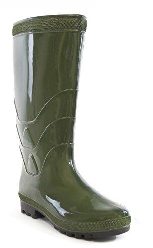 Hommes Classique Uni Brillant PVC Imperméable Bottes En Caoutchouc Vert