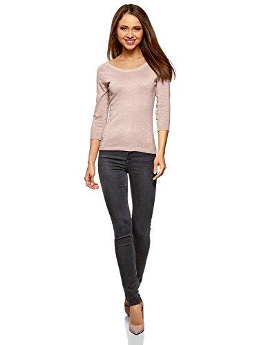 oodji Collection Damen Pullover aus Glänzendem Stoff mit 3/4-Ärmeln Rosa (4001X)