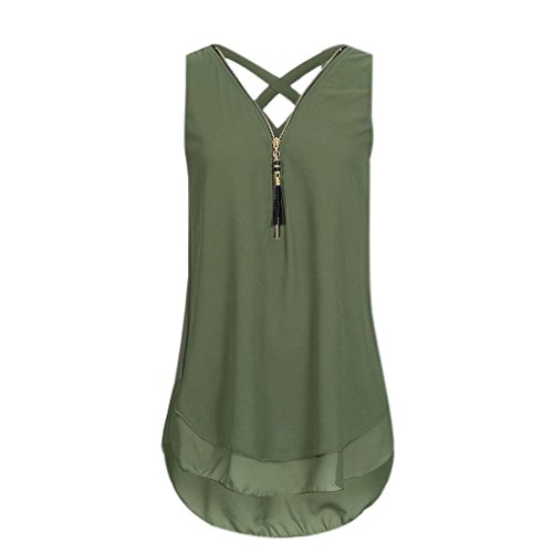 JUTOO Women Loose Flowers Chiffon Sleeveless Tank V-Neck Zipper Hem Scoop TShirts Tops(A-Grün, EU:34/CN:S) -