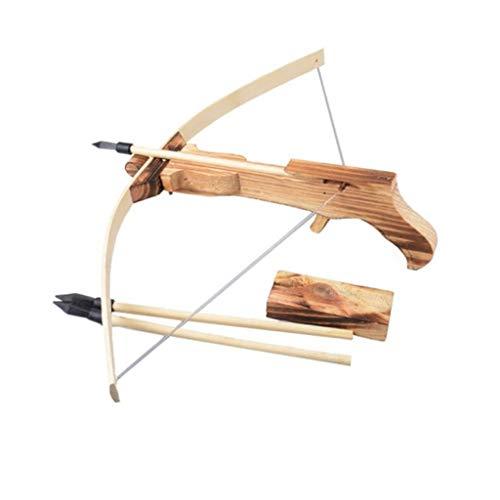 Spielzeug-Armbrust Holz-Armbrust 55cm Kinder-Waffe Echt-Holz mit Stahlspanner inkl. 3 Pfeile Bolzen Munition Stahl Bügel
