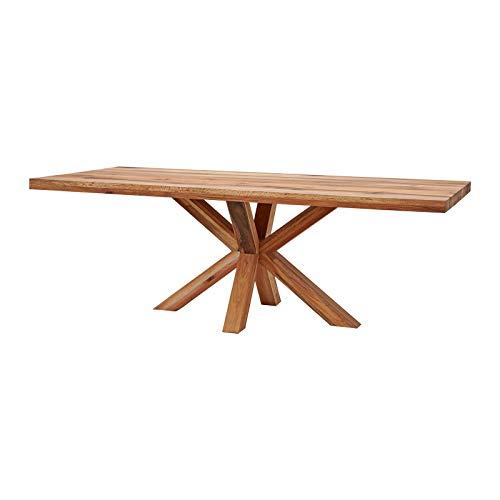 MÖBEL IDEAL Esstisch Eiche Massivholz Natur geölt Tisch 220 x 100 x 77 cm Esszimmertisch Massiv Wildeiche