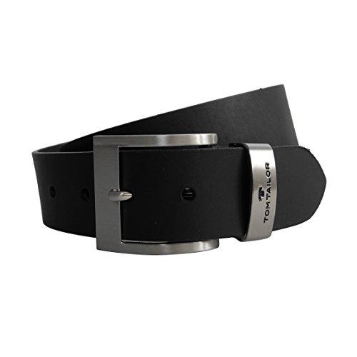 Voll-Ledergürtel von Tom Tailor - robuster Rindleder Herren-Gürtel , stabile Metall Dornschließe Gürtelschnalle geschraubt ( Schwarz max. Umfang 120cm - kürzbar ) - präsentiert von ZMOKA®