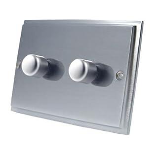 Light Dimmer Switch 2 Gang 1000W - Victorian - Satin Matt Chrome - 10 Amp 2 Gang 2 Way