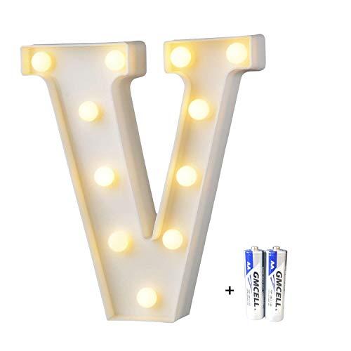 LED Buchstabe Lichter Alphabet, LED Brief Licht, Led dekoration für Geburtstag Party Hochzeit & Urlaub Haus Bar - Buchstabe V