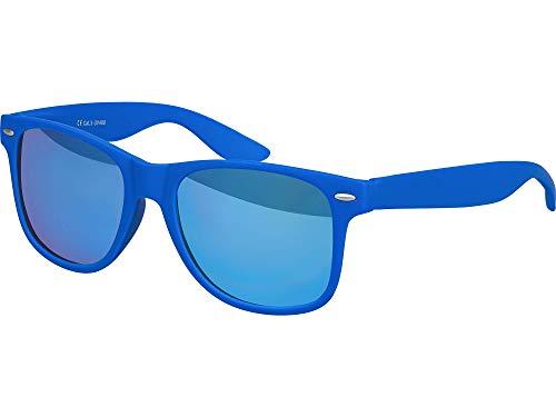 Balinco Hochwertige Nerd Sonnenbrille Rubber im Wayfarer Stil Retro Vintage Unisex Brille mit Federscharnier - 96 verschiedene Farben/Modelle wählbar (Blau - Blau verspiegelt)