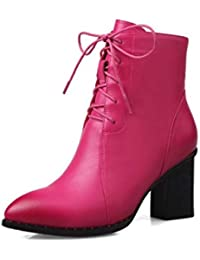 d20db31558b91d SWEAAY Boots Bottines en Cuir pour Femmes Bottes À Talons Épais De Mode  Bottes Martin Fermeture