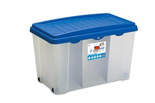 XXL Aufbewahrungsbox aus robustem Kunststoff (PP) mit 120 Liter Volumen, zwei Trennwänden und vier...