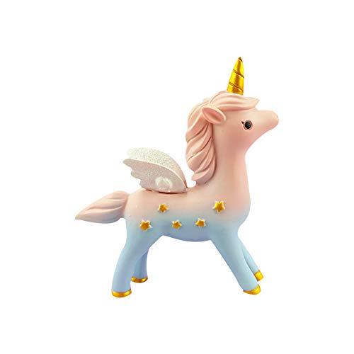 Ruiting Cake Topper Unicornio,Decoración de Tarta de Figura Resina de Unicornio Decoración para Pasteles Cake Topper para Baby Shower Cumpleaños Boda A