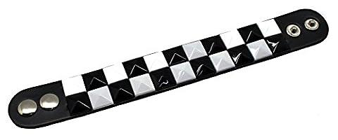 Faux Leather Wristband Pyramid Studs Black &