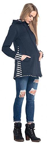 Happy Mama. Damen Sweatshirt Kängurutasche Langarm Still-Kapuzenpullover. 495p Marine