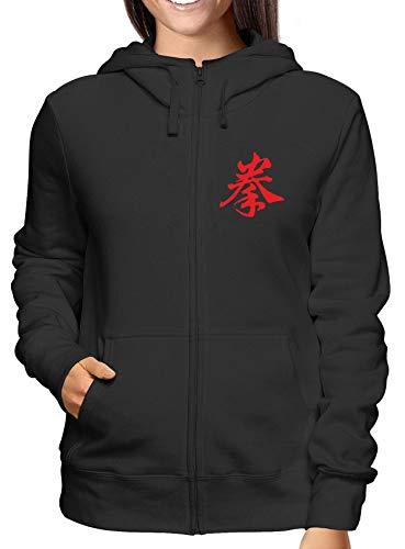 T-Shirtshock Sweatshirt Damen Hoodie Zip Schwarz TAM0087 Kenpo Kanji Kanji-zip Hoodie