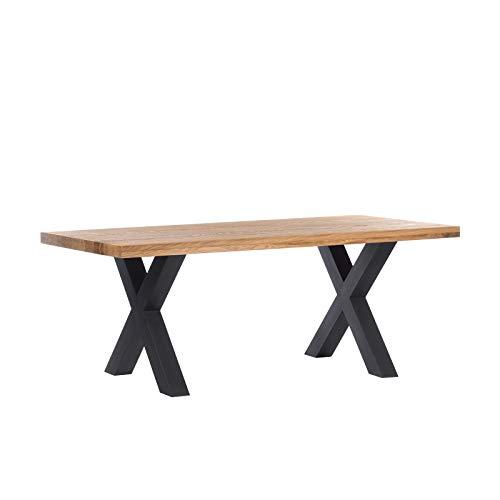 DESIGN DELIGHTS ESSTISCH Eiche MASSIVHOLZ | Natur geölt, Massive Tischplatte 6cm (3+3cm aufgedoppelt), X-Gestell aus Stahl | 220x100 cm