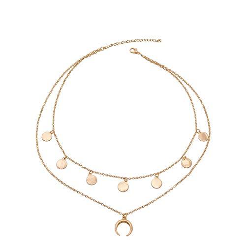 SMILEQ® Auffällige Halskette Love Multilayer Irregular Pendant Chain (1PC, Gold) (Und Lang Ohrringe 5 Kette Cm)