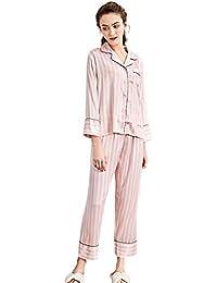 Pijamas de primavera Ms Pantalón de manga larga rojo y blanco de 2 piezas Conjunto de