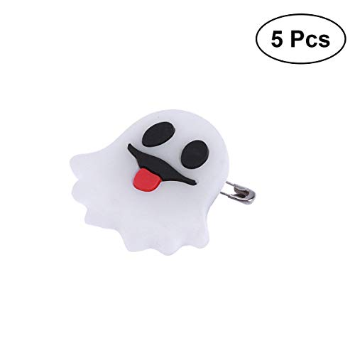 BESTOYARD 5 UNIDS Broche de Parpadeo de Halloween Pins Broche LED Kids Party Supplies Broche de luz Intermitente (Lindo Fantasma)