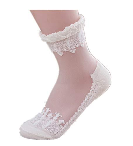 KPILP 1 Paar Damen Sneakersocken Weiche Ultradünne Transparente Strümpfe Elegante Schöne Kristallspitze Elastische Kurze Socken Freizeitsocken,Weiß1