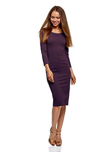 oodji Ultra Damen Enges Kleid mit U-Boot-Ausschnitt, Violett, DE 42/EU 44/XL