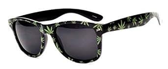 Lunettes de soleil style Wayfarer retro vintage 80'S - Monture Noir Motif Feuille de Cannabis Marijuana Skunk Ganja Indica - Verre noir - Fashion tendance
