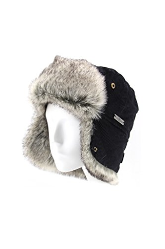 Fell Winter Baumwolle Cord Kunstfell Aviator Bomber Trapper Trooper Pilot Ski Hat Gr. Medium, Schwarz - Schwarz (Bomber Hats Trapper)