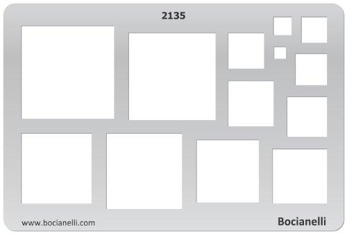 15cm x 10cm Normographe Plastique Transparent Trace Gabarit de Dessin Conception Graphique Art Artisanat Fabrication Bijoux Illustration - Carrés