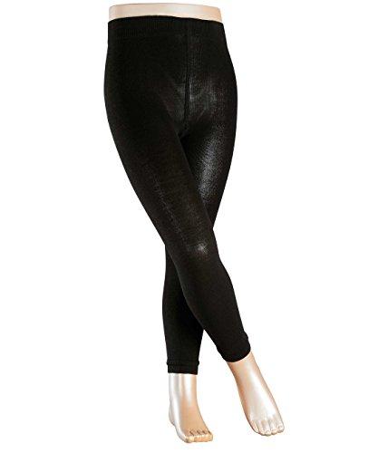 FALKE Mädchen Strumpfhosen / Leggings Active Warm - 1 Paar, Gr. 152-164, schwarz, ohne Fuss, hautfreundlich, Baumwolle blickdicht