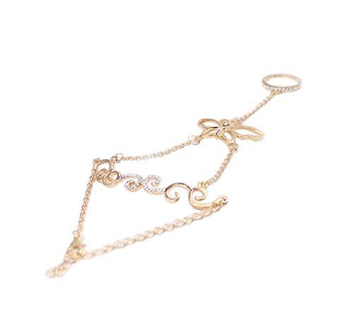 1 Stücke Gold Böhmischen Schmetterling Blume Reben Form Strass Eingelegtes Armband mit Ring Hand Rückenverzierung Kette Handgelenk Finger Verbundenes Armband für Mode