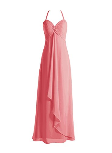Bbonlinedress Robe de demoiselle d'honneur bretelles spaghetti longueur ras du sol Corail
