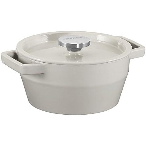 Pyrex 8010741,0 capacidad 2L2 Rodillo Slow Cook-Cacerola de hierro fundido redonda, diámetro 20 cm, acero, color crema