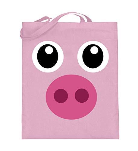 ALBASPIRIT Pinkes Schweinchen T-Shirt Halloween Süßes Schwein Geschenk - Jutebeutel (mit langen Henkeln)