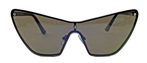 Moderne randlose Damen Sonnenbrille im Designer Stil Cateye Form verspiegelt VDA (Grau getönt)