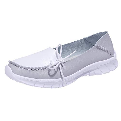 Saihui Damen Freizeitschuhe Bequem Schnürer Plateauschuhe Sportschuhe Leichte Schuhe Air Cushion Sneaker Rutschfeste Sneakers Turnschuhe (EU:42, Grau)