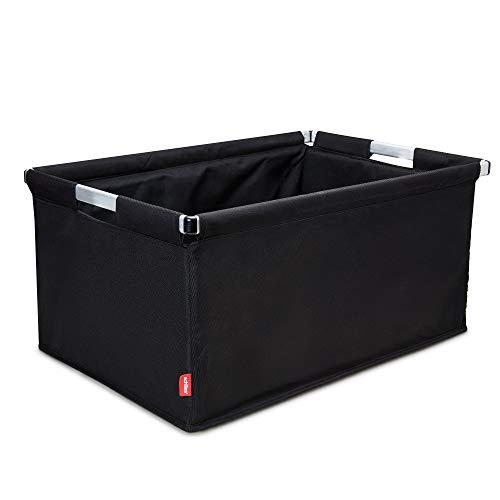 achilles Big-Box Alu, Einkaufs-Box Transport-Kiste mit Aluminiumrahmen Klapp-Box Falt-Korb Kofferraum-Box in schwarz, 61,5 cm x 42 cm x 29 cm