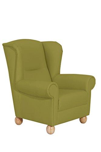 Max Winzer® Ohrensessel Monarch, grün, Kunstleder, romantisch, Landhaus, 93 x 87 x 103 cm